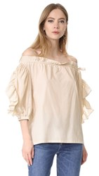 Robert Rodriguez Striped Ruffle Short Sleeve Top Taupe