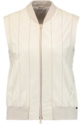 Brunello Cucinelli Bead Embellished Leather Vest Off White