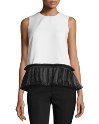 Opening Ceremony Sleeveless Ruffle Trim Chiffon Tank White