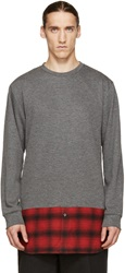 Public School Grey And Red Layered Sweater