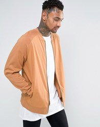 Asos Oversized Jersey Bomber Jacket With Woven Front Camel Brown