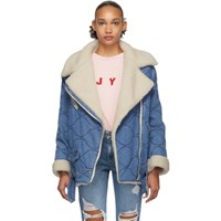 Sjyp Blue Denim Sherpa Rider Jacket
