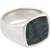 Tom Wood Cushion Green Marble Silver Ring Green Silver