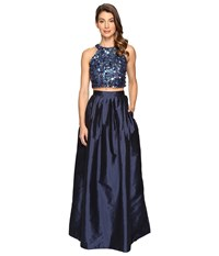 Adrianna Papell Beaded Crop Dress Twilight Women's Dress Blue
