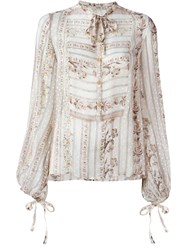 Etro Victorian Print Bishop Sleeve Blouse Nude And Neutrals