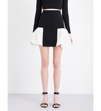 David Koma Puff Hem Stretch Crepe Mini Skirt Black White