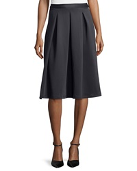 Chelsea And Theodore Inverted Pleat A Line Skirt Black