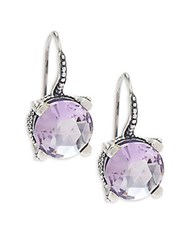 Stephen Dweck Round Faceted Amethyst Earrings Silver