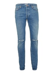 Topman Blue Vintage Wash Ripped Stretch Skinny Jeans