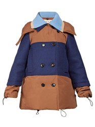 Marni Panelled Wool And Shell Coat Brown Multi