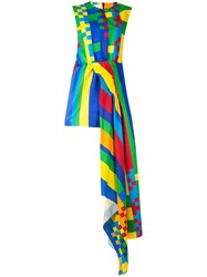 Halpern Asymmetric Sleeveless Dress Multicolour