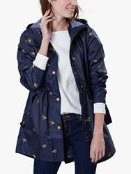Joules Golightly Pack Away Waterproof Umbrella Ducks Print Coat Navy Multi