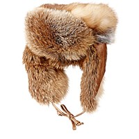 Crown Cap Men's Fur And Leather Trapper Hat Red