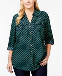 Charter Club Plus Size Printed Button Down Blouse Only At Macy's
