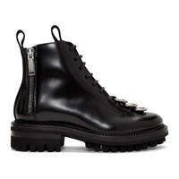 Dsquared2 Black Leather Lace Up Boots