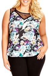 City Chic 'Dark Oasis' Lace Inset Print Sleeveless Top Plus Size Black