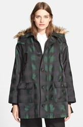 Red Valentino Hooded Jacket With Faux Fur Trim Verde