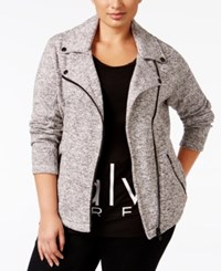 Calvin Klein Performance Plus Size Marled Moto Jacket Grey
