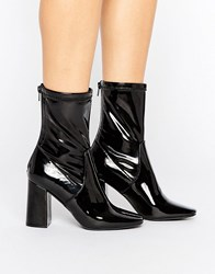 New Look Patent Heeled Ankle Boot Black