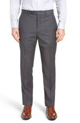 John W. Nordstrom Torino Traditional Fit Flat Front Check Trousers Grey