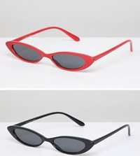 7X 2 Pack Slim Frame Sunglasses Black Red Multi