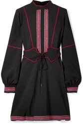 Anna Sui Belted Embroidered Crepe Mini Dress Black