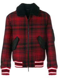 Tommy Hilfiger Checked Bomber Jacket Red