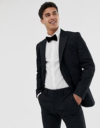 Jack And Jones Premium Tuxedo Suit Jacket With Printed Paisley Jacquard In Skinny Fit Black