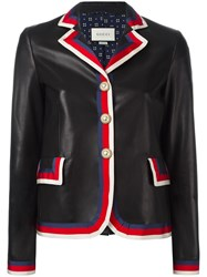 Gucci Sylvie Web Trim Leather Jacket Black