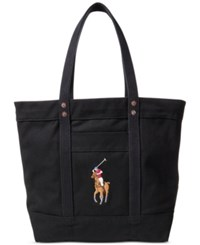 Polo Ralph Lauren Men's Big Pony Cotton Canvas Tote Black