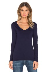 Bobi Light Weight Jersey V Neck Long Sleeve Tee Navy