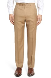 Santorelli Men's Big And Tall Flat Front Twill Wool Trousers Tan