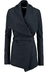 Helmut Lang Belted Draped Wool Jacket Blue