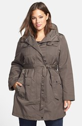 Plus Size Women's Ellen Tracy Techno Trench Raincoat Online Nordstrom Exclusive