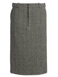 Raey Herringbone Wool Pencil Skirt Black White