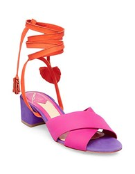 Brian Atwood Astor Nubuck Leather Sandals Pink