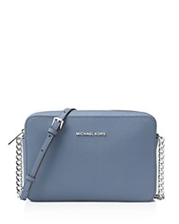 Michael Michael Kors Jet Set Large Saffiano Leather Crossbody Denim Silver