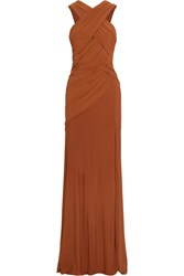 Donna Karan Draped Ruched Jersey Gown Brown