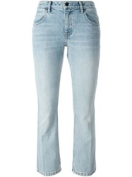 T By Alexander Wang Flared Cropped Jeans Blue