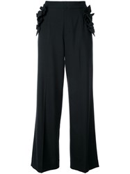 Muveil Ruffled Detailing Flared Trousers Black