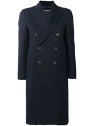 Dsquared2 Double Breasted Tailored Coat Blue