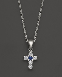 Bloomingdale's Diamond And Sapphire Cross Pendant In 14K White Gold .10 Ct. T.W. No Color