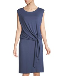 Three Dots Tie Front Twofer Jersey Dress Indigo