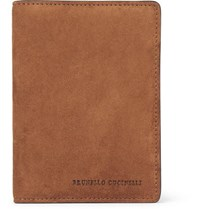 Brunello Cucinelli Suede And Textured Leather Passport Cover Tan