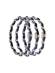 Chanel Vintage Woven Velvet Bangle Blue