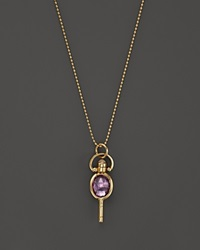 Monica Rich Kosann 18K Yellow Gold Mini Oval Pocketwatch Key Charm Necklace With Amethyst And Moonstone 18 Gold Multi