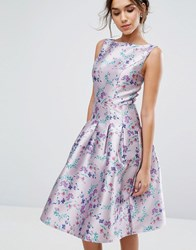 Chi Chi London Pleated Midi Dress In Ditsy Floral Print Lilac Print Multi
