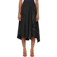 3.1 Phillip Lim Black Poplin Slit Flare Skirt
