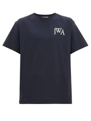 J.W.Anderson Jw Anderson Logo Embroidered Cotton T Shirt Navy