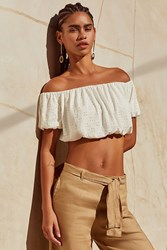 Urban Outfitters Uo Off The Shoulder Cropped Eyelet Top White